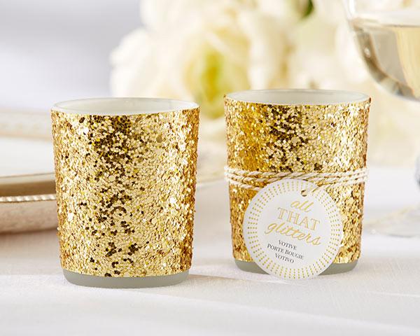 """""""All That Glitters"""" Gold Glitter -Tea Light Holder"""