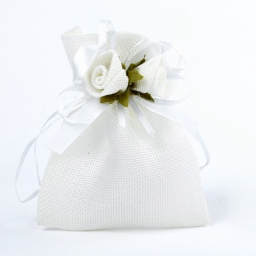 White Drawstring Bags with Roses and Ribbon