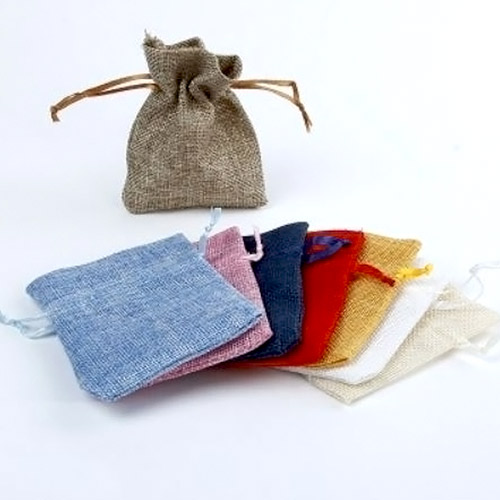 Linen Drawstring Bags - Assorted Colours