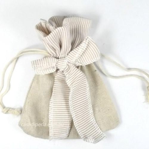 Brown Stripe Accent Linen Bag