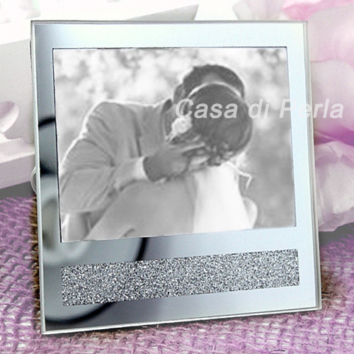 Mirror and Glitter Photo Frame & Place Card Holder