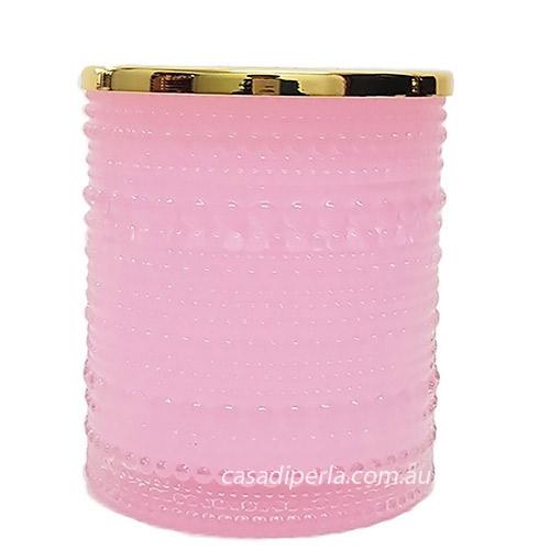 Pink Gold Lid Glass Bubble Jar